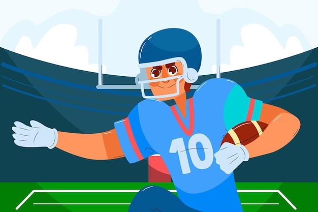 フィールド上のアメリカンフットボール選手