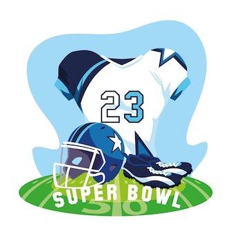 American football player outfit sportsuit, label super bowl