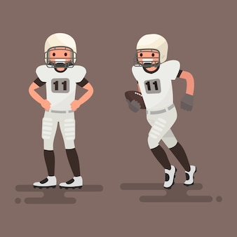 American football. player posing, player is running illustration