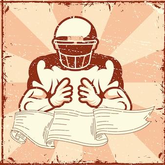 American football player in ribbon
