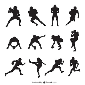 American football player silhouettes collection
