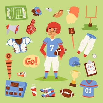 American football player uniform sport icons isolated on background sport athlete uniform people