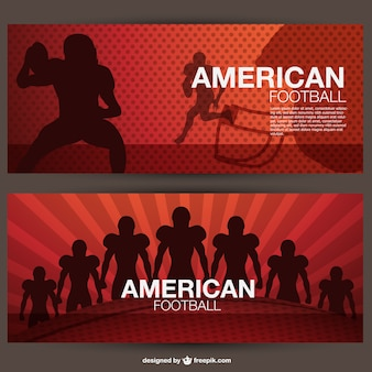 American football players banners set