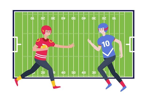 Giocatori di football americano davanti al campo
