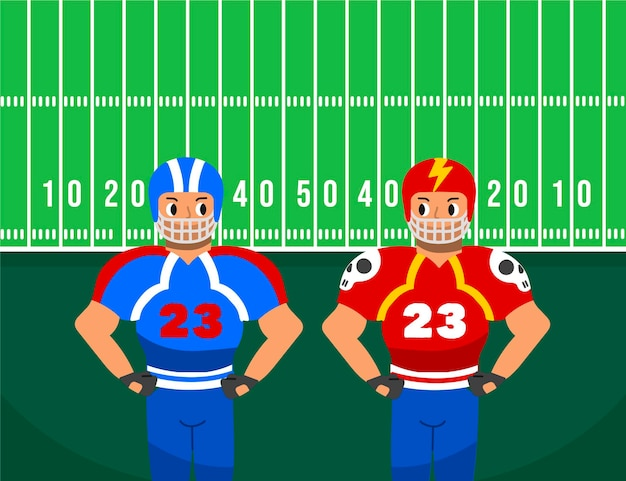 American football players in front of field
