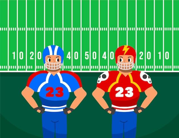 フィールドの前でアメリカンフットボール選手