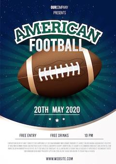 Американский футбол постер шаблон концепции