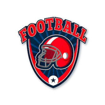 American football red helmet logo template