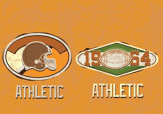 American football retro insignia on vintage background