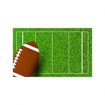 American football rugby on field of stadium. vector illustration.