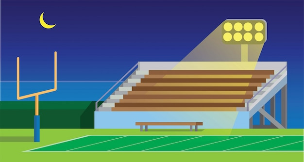 American football school, collage, amateur, stadium field in night flat illustration