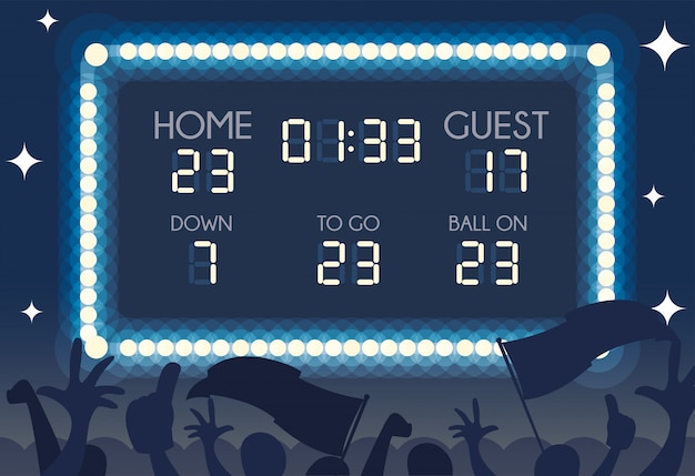 American football scoreboard, home and guest