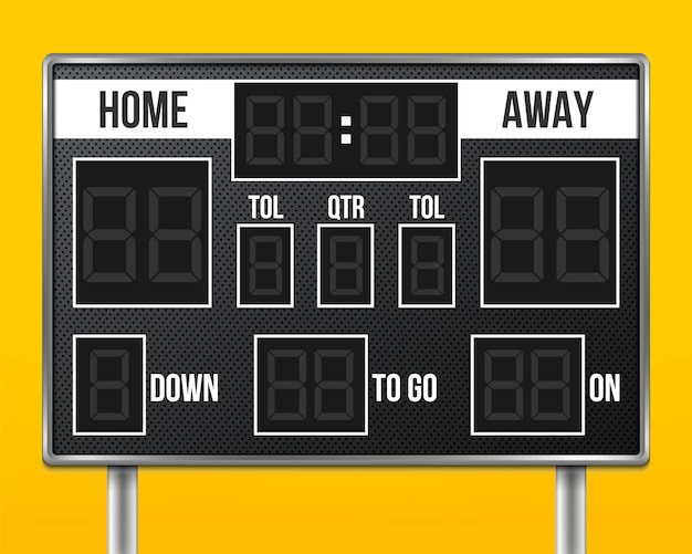 American football scoreboard, sport game score.