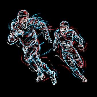 アメリカンフットボールの落書きアート