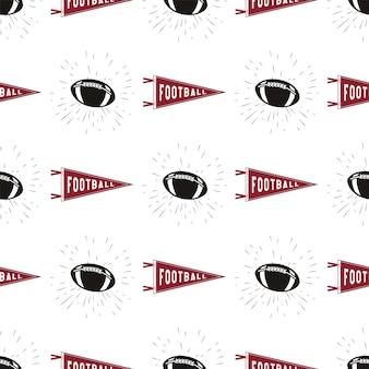 공, 페넌트, 스타 라이트 및 지형 요소와 같은 스포츠 기호가 있는 미식 축구의 매끄러운 패턴입니다. 스톡 벡터 배경, 벽지