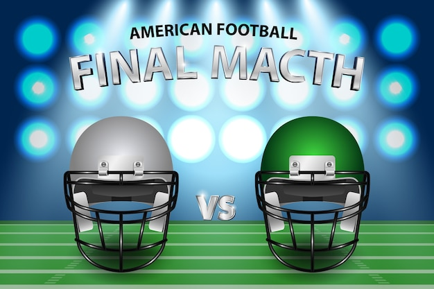 Американский футбол серебряный и зеленый шлемы на поле с подсветкой фона.