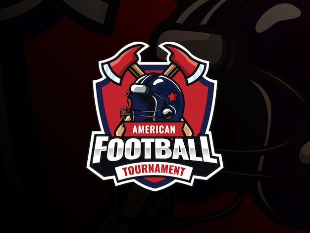 アメリカンフットボールスポーツのロゴデザイン。現代のプロサッカーベクトルバッジ。交差した軸を持つアメリカンフットボールのヘルメット