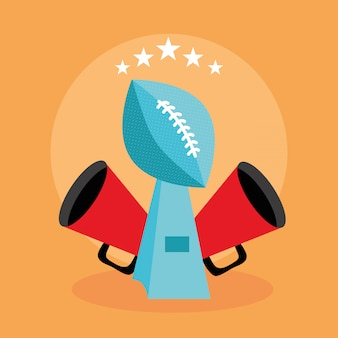 American football sport poster with trophy balloon  illustration