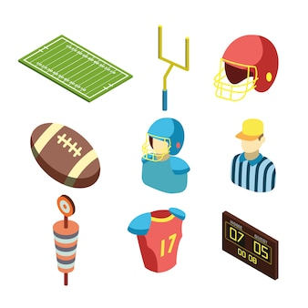 American football sportive equipment set