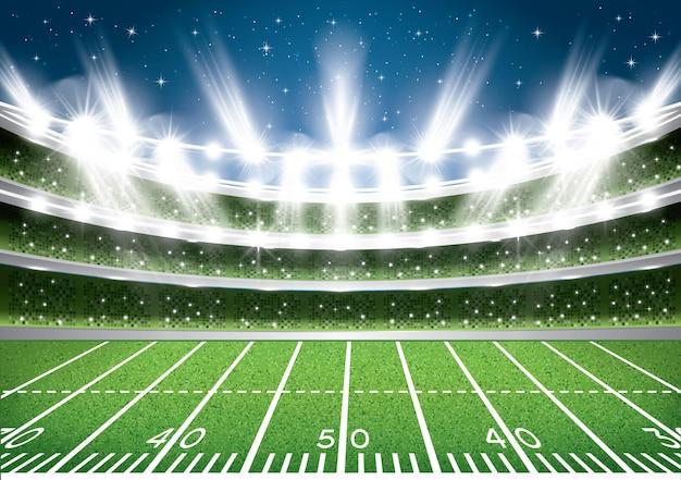 アメリカンフットボールスタジアムアリーナ。ベクトルイラスト。