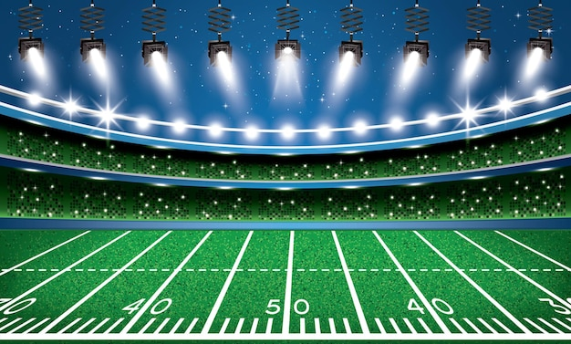 American football stadium arena with spotlights. vector illustration.