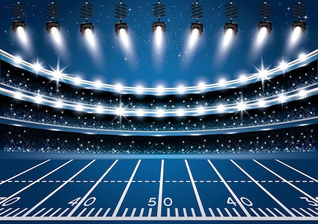 Американский футбольный стадион арена с прожекторами.