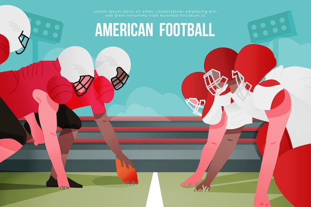 American football teams on the football field
