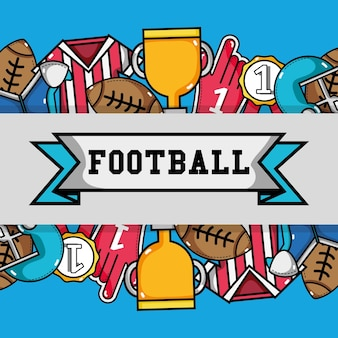 American football tools with ribbon message background