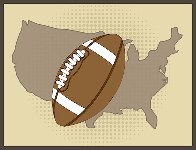 American football over vintage background vector illustration