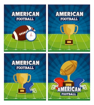 American football with decoration illustration set
