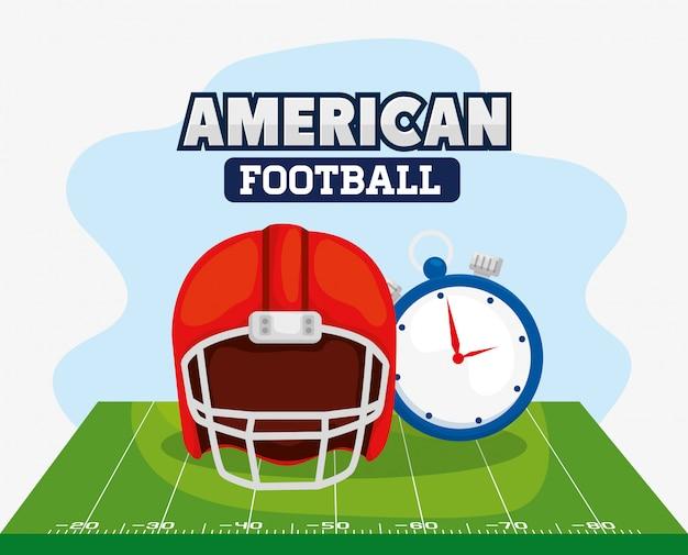 アメリカンフットボールのヘルメットとクロノメーターの図