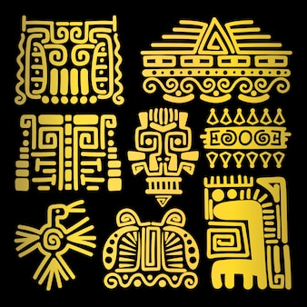American golden ancient totems
