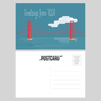 American golden gate bridge  illustration.  element for airmail card sent from usa for travel to america concept