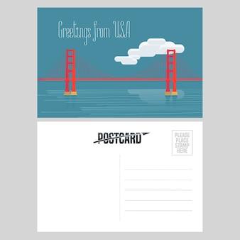 アメリカのゴールデンゲートブリッジのイラスト。アメリカへの旅行の概念のために米国から送信された航空便カードの要素