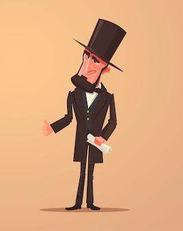 미국의 행복 웃는 대통령 캐릭터. 만화 삽화