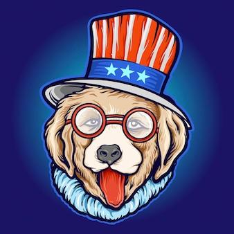 American hat cool dog day 선글라스 작업 로고, 마스코트 상품 티셔츠, 스티커 및 라벨 디자인, 포스터, 인사말 카드 광고 비즈니스 회사 또는 브랜드를 위한 벡터 삽화.