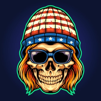 American hat skull rockstar vector illustrations for your work logo, mascot merchandise t-shirt, stickers and label designs, poster, greeting cards advertising business company or brands.