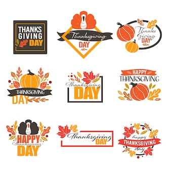 American holiday in autumn, banners for thanksgiving day celebration