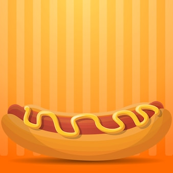 American hot dog illustration, cartoon style