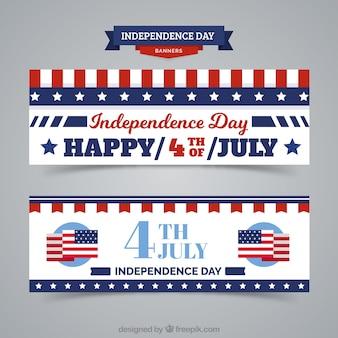 Американские баннеры день независимости в винтажном стиле