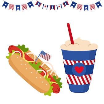 American independence day card with flag cup, coffee to go and hot dog with usa flags garland buntin