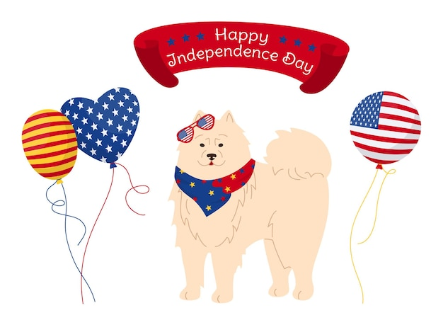 American independence day cartoon card, patriotic pet white antarctical pup with glasses flag usa