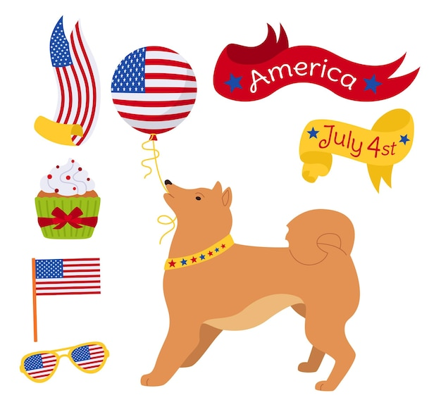 American independence day cartoon set, patriotic redhead dog with balloon ribbon cake flag usa