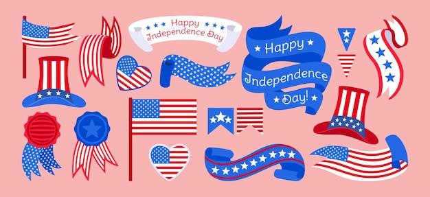 American independence day flat set, flag ribbon strip tape patriotism heart label pennant garland