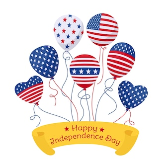 American independence day, greeting card balloon with flag usa bunch glossy helium air balloons