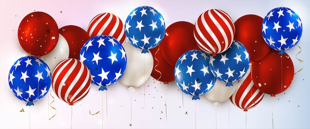 American independence day. panoramic horizontal banner with balloons. the 4th of july. memorial day of the usa.