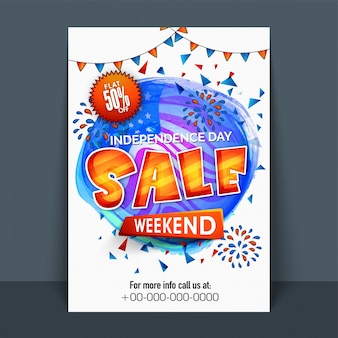 American independence day template, banner o flyer design.