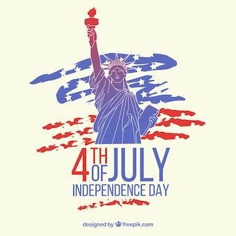 American independence day with liberty statue