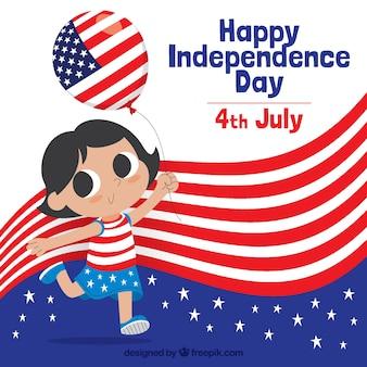 День независимости США с прекрасной девушкой