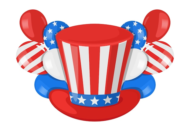 American independence day with president hat and balloons